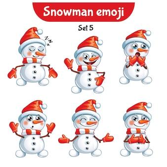 Set kit collection autocollant emoji émoticône émotion vecteur isolé illustration heureux caractère doux, mignon bonhomme de neige