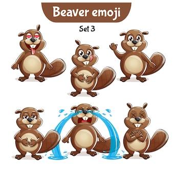Set kit collection autocollant emoji émoticône émotion vecteur isolé illustration heureux caractère doux, mignon castor