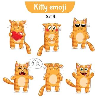 Set kit collection autocollant emoji émoticône émotion vecteur isolé illustration heureux caractère doux, mignon chat rouge