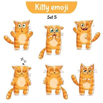 Set kit collection autocollant emoji émoticône émotion vecteur isolé illustration heureux caractère doux, mignon chat