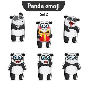 Set kit collection autocollant emoji émoticône émotion vecteur isolé illustration heureux caractère doux, mignon panda