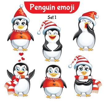 Set kit collection autocollant emoji émoticône émotion vecteur isolé illustration heureux caractère doux, mignon pingouin de noël