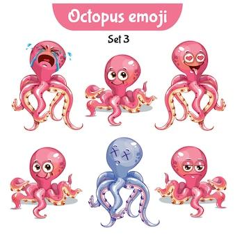 Set kit collection autocollant emoji émoticône émotion vecteur isolé illustration heureux caractère doux, mignon poulpe rose