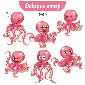 Set kit collection autocollant emoji émoticône émotion vecteur isolé illustration heureux caractère doux, mignon rose otopus