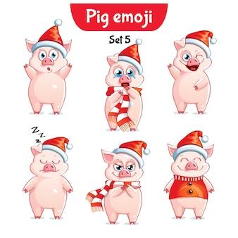 Set kit collection autocollant emoji émoticône émotion vecteur isolé illustration heureux caractère doux, noël cochon