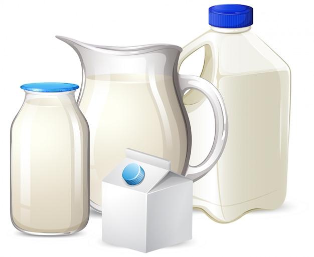 Set de lait sur différents contenants