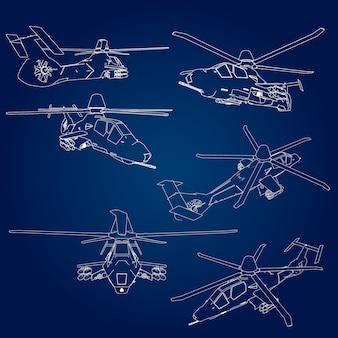 Set linéaire illustration vectorielle d'un hélicoptère militaire