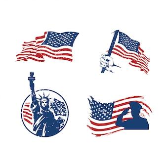 Set logo 4 juillet fête de l'indépendance