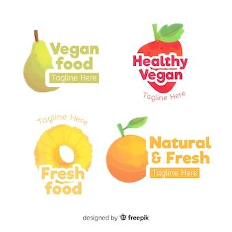 Set de logo aquarelle aliments sains