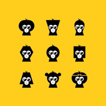 Set logo visage de singe