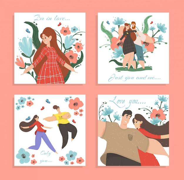 Set love banners ou cartes de voeux happy couple