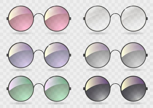 Set lunettes rondes avec verre différent