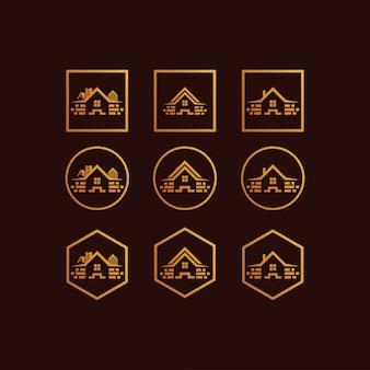 Set de maison logo dégradé de couleur