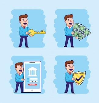 Set man avec la technologie de transaction électronique