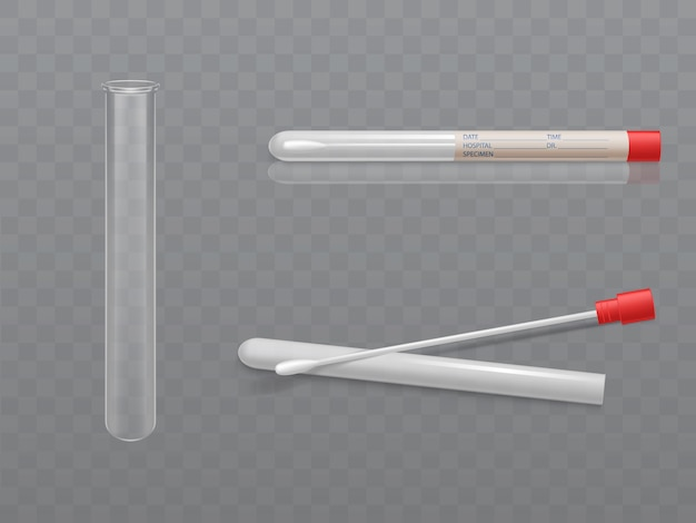 Set médical vector pour analyse - pointe q avec coton-tige et tube à essai