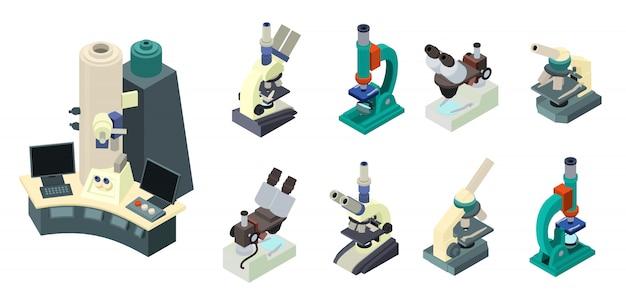 Set de microscope, style isométrique