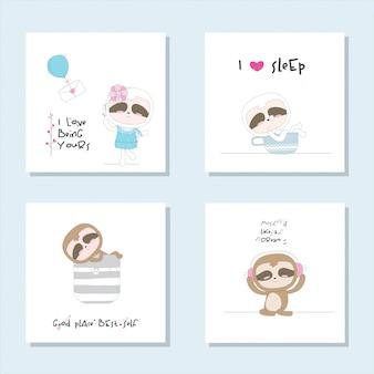 Set mignon collection illustration animal mignon pour les enfants