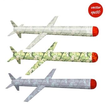 Set de missile de croisière kaki isolé sur blanc