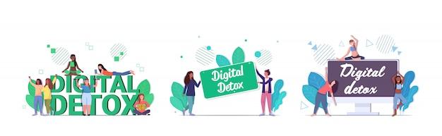 Set mix race filles passer du temps sans appareils concept de désintoxication numérique femmes abandonnant les gadgets