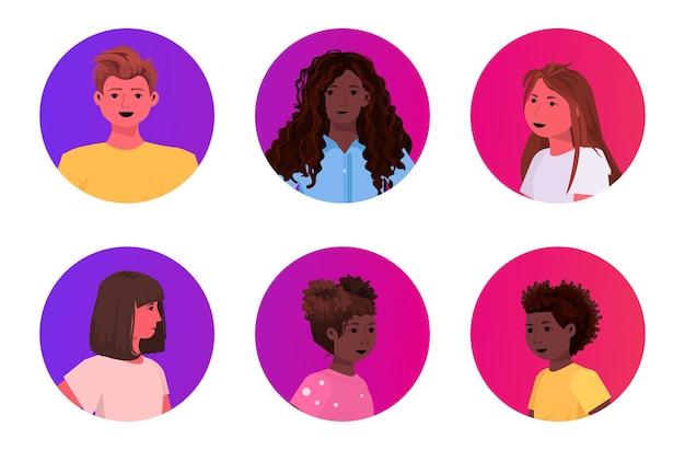 Set mix race garçons et filles visages avatars enfants mignons mâle femelle personnages de dessins animés collection portrait illustration horizontale