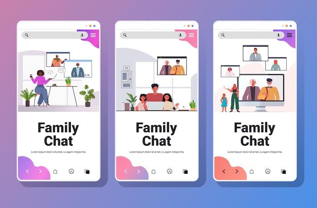 Set mix race grands-parents parents et enfants ayant réunion virtuelle au cours de l'appel vidéo chat familial concept de communication smartphone écrans collection horizontale