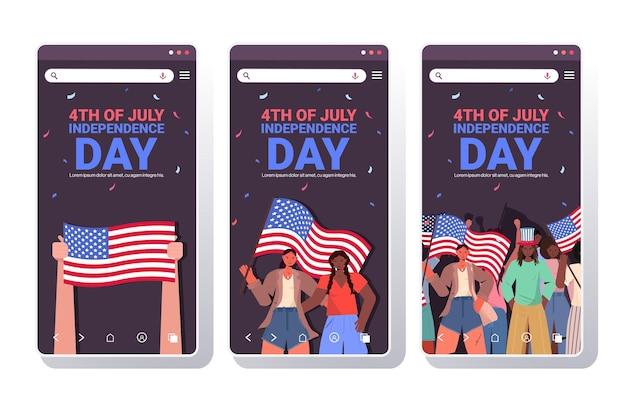 Set mix race people holding usa flags célébrant, 4 juillet collection d'écrans de smartphone de la fête de l'indépendance américaine