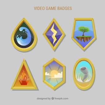 Set moderne de badges de jeux vidéo