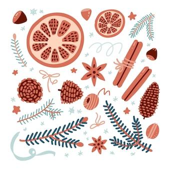 Set de noël et du nouvel an avec épices, biscuits, sapins et cornets aux oranges sèches, etc. décor hygge.