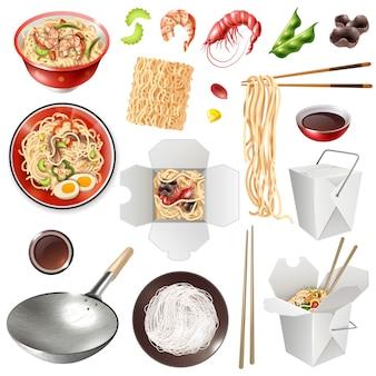 Set de nouilles chinoises réalistes