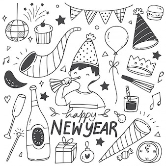 Set sur le nouvel an doodles