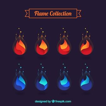 Set d'orange abstrait et flammes bleues