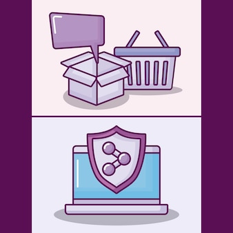 Set ordinateur portable avec des icônes de commerce électronique