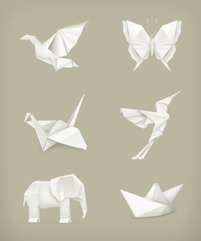 Set origami, blanc