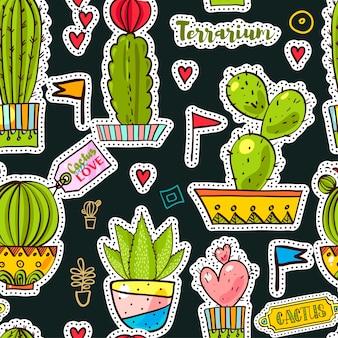 Set patchs fashion, broches avec des cactus
