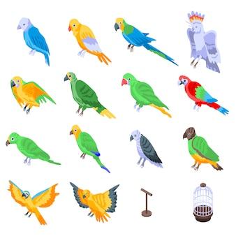 Set de perroquets, style isométrique