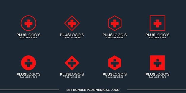 Set plus logo design vecteur bundle premium