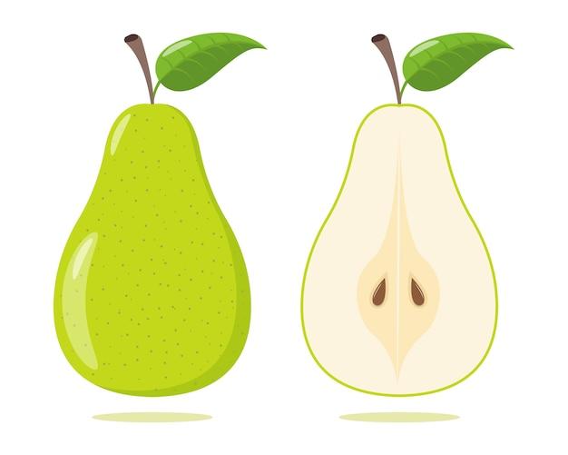 Set poire verte isolée sur fond blanc. illustration vectorielle. poire verte coupée