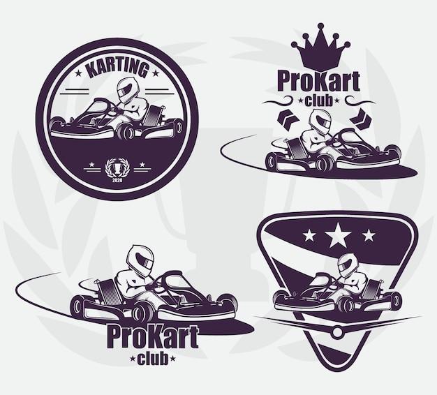 Set pour l'emblème de karting. la course dans un casque. sport extrême