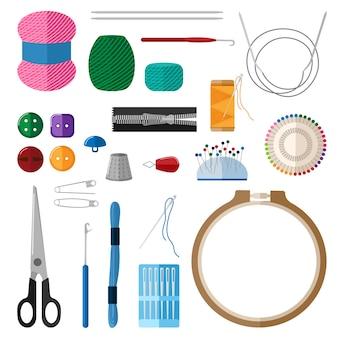Set pour la main sur fond blanc. kit pour cerceaux de broderie artisanale, fils, fil, aiguilles, dé à coudre, boutons, épingles, ciseaux, curseur en illustration plate de style.