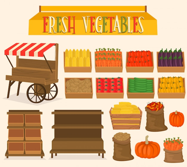 Set pour les marchés de rue dans les légumes