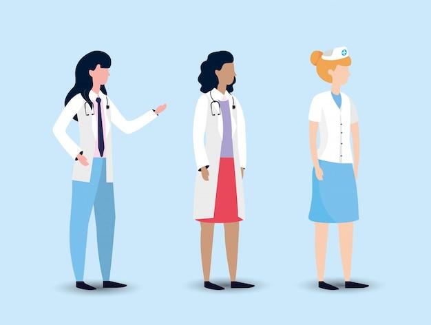 Set professionnel femme médecin et infirmière