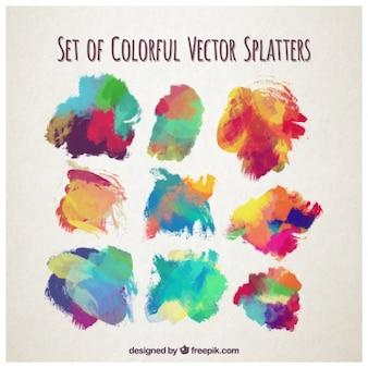 Set de projections colorées à l'aquarelle