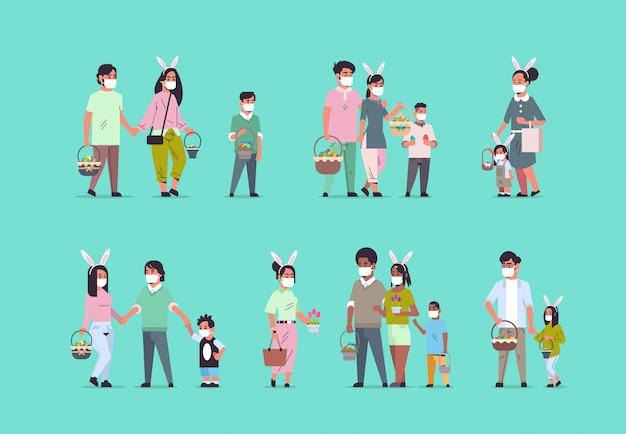Set race mix les gens détiennent des paniers avec des œufs portant un masque pour empêcher le coronavirus de célébrer joyeuses pâques