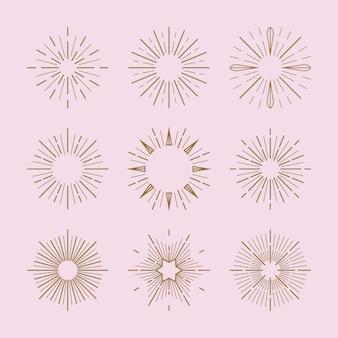 Set de rayon de soleil plat linéaire