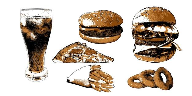 Set avec restauration rapide 1set avec restauration rapide. hamburgers de vecteur, pizza, pomme de terre française et soda froid