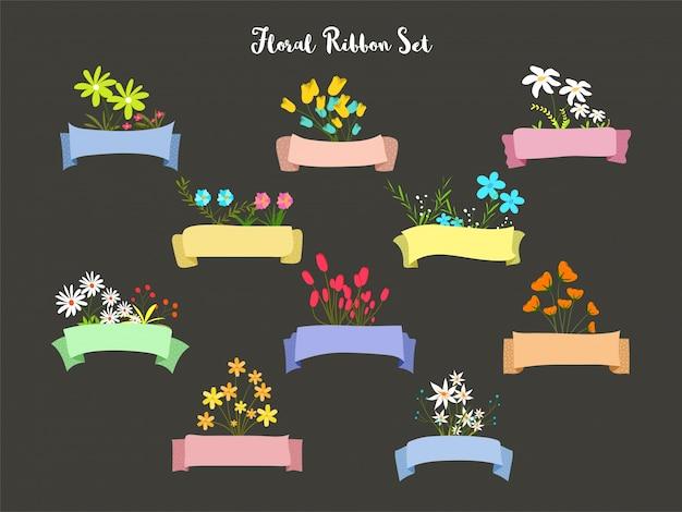 Set de rubans décoré de fleurs à l'aquarelle.