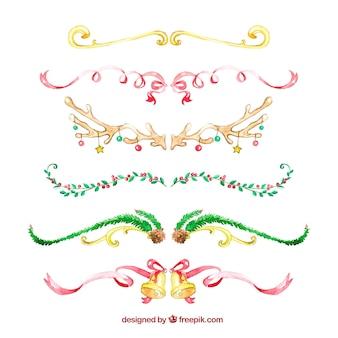 Set de rubans de noël aquarelle
