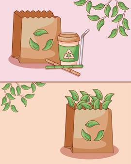 Set de sacs en papier avec bouteille et paille écologique