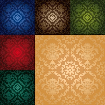 Set seamless wallpaper pattern floral
