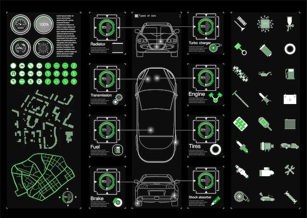 Set service de voiture futuriste, numérisation et analyse automatique des données. bannière de voiture intelligente
